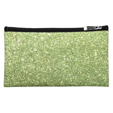 Beach Themed Bright Green Glitter Sparkles Makeup Bag