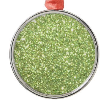 Beach Themed Bright Green Glitter Sparkles Metal Ornament