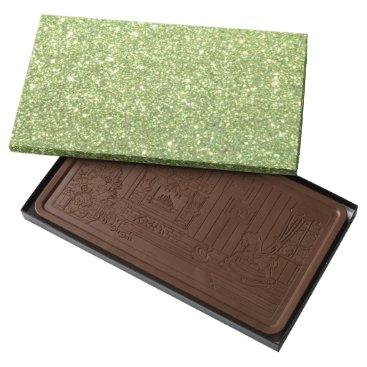 Beach Themed Bright Green Glitter Sparkles Milk Chocolate Bar