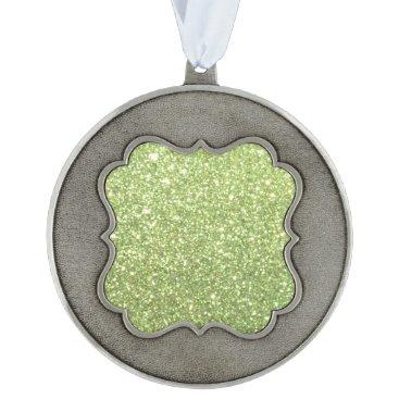 Beach Themed Bright Green Glitter Sparkles Ornament