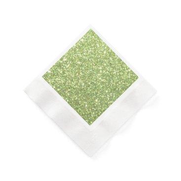 Christmas Themed Bright Green Glitter Sparkles Paper Napkin