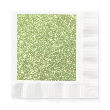 Beach Themed Bright Green Glitter Sparkles Paper Napkin