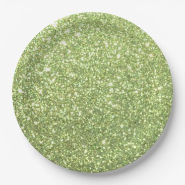 Beach Themed Bright Green Glitter Sparkles Paper Plate