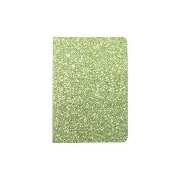 Beach Themed Bright Green Glitter Sparkles Passport Holder