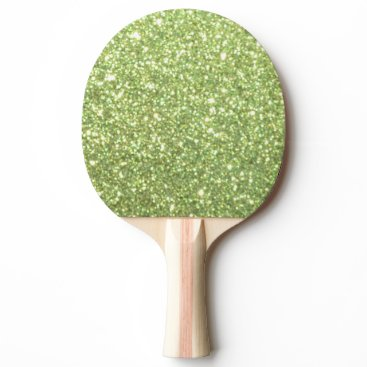 Beach Themed Bright Green Glitter Sparkles Ping Pong Paddle