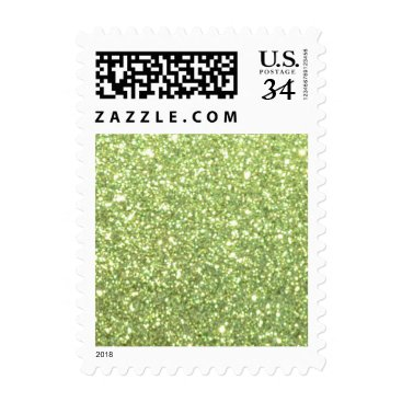 Beach Themed Bright Green Glitter Sparkles Postage