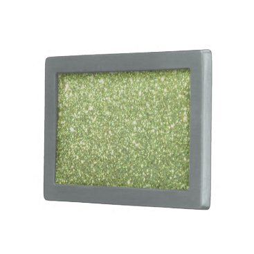 Beach Themed Bright Green Glitter Sparkles Rectangular Belt Buckle