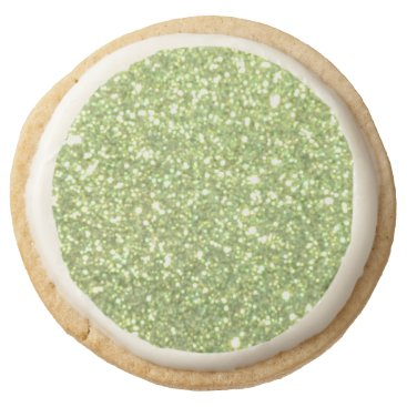 Beach Themed Bright Green Glitter Sparkles Round Shortbread Cookie
