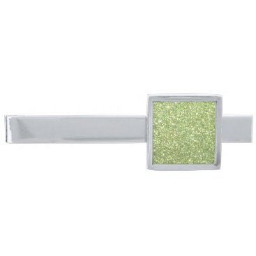 Beach Themed Bright Green Glitter Sparkles Silver Finish Tie Bar