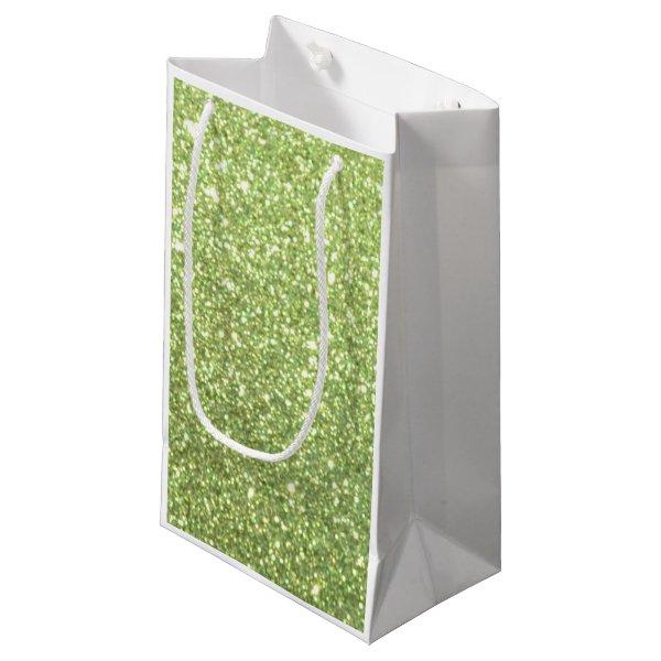Bright Green Glitter Sparkles Small Gift Bag