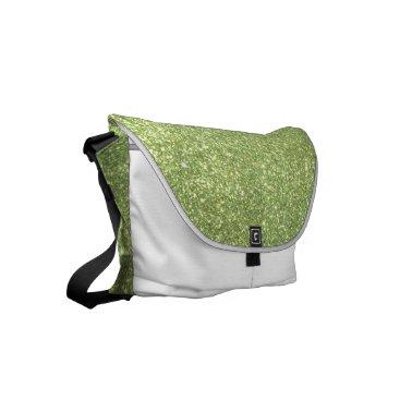 Beach Themed Bright Green Glitter Sparkles Small Messenger Bag