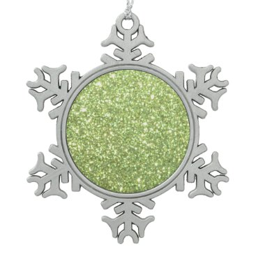 Beach Themed Bright Green Glitter Sparkles Snowflake Pewter Christmas Ornament
