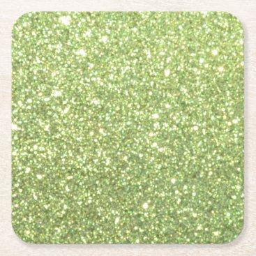 Beach Themed Bright Green Glitter Sparkles Square Paper Coaster