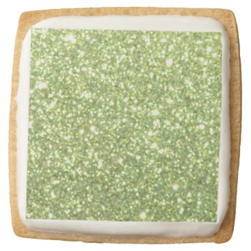 Beach Themed Bright Green Glitter Sparkles Square Shortbread Cookie