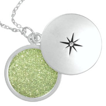 Beach Themed Bright Green Glitter Sparkles Sterling Silver Necklace