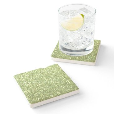 Beach Themed Bright Green Glitter Sparkles Stone Coaster