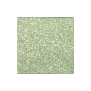Beach Themed Bright Green Glitter Sparkles Stone Magnet