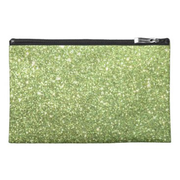 Beach Themed Bright Green Glitter Sparkles Travel Accessory Bag