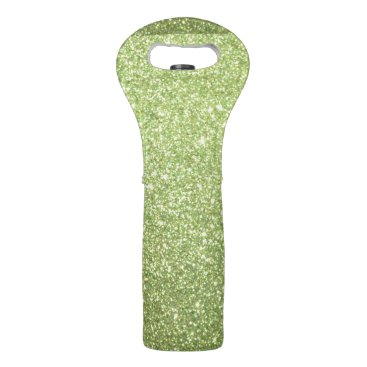 Beach Themed Bright Green Glitter Sparkles Wine Bag