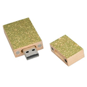 Beach Themed Bright Green Glitter Sparkles Wood Flash Drive