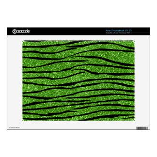 Bright green glitter zebra stripes acer chromebook skins