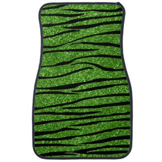Bright green glitter zebra stripes car floor mat