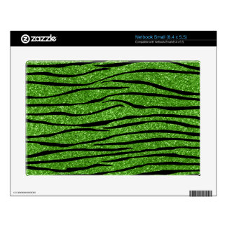 Bright green glitter zebra stripes small netbook skins