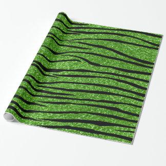 Bright green glitter zebra stripes wrapping paper
