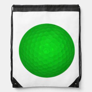 Bright Green Golf Ball Drawstring Bag