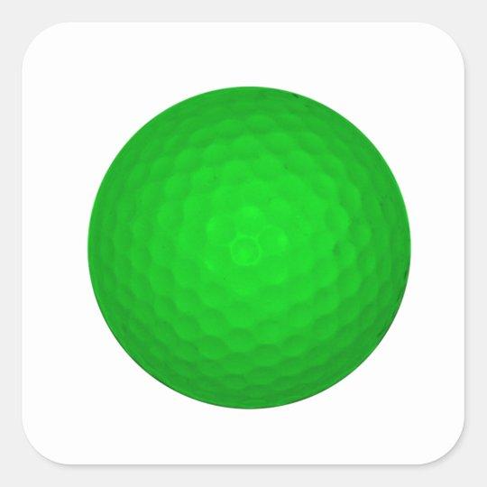 Bright Green Golf Ball Square Sticker