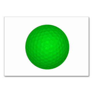 Bright Green Golf Ball Table Card