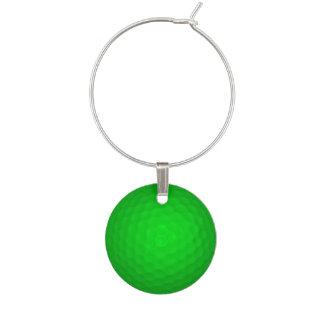 Bright Green Golf Ball Wine Glass Charm