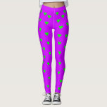 [ Thumbnail: Bright Green Heart Shapes On Bright Purple Leggings ]