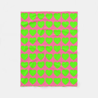 Bright Green Hearts on Pink Fleece Blanket