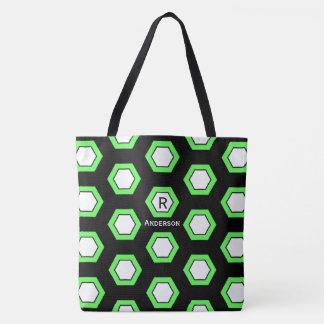 Bright Green Hexagon Pattern on Black, Monogram Tote Bag