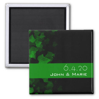 Bright Green Ivy Leaves 2 Inch Square Magnet