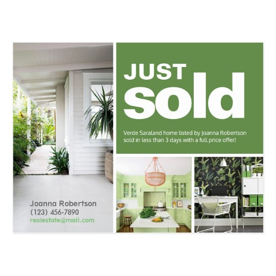 bright green just sold real estate advert template postcard zazzle com