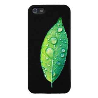 Bright green leaf with raindrops on black cases for iPhone 5
