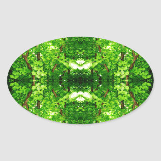 Bright Green Leafy Abstract Oval Stickers