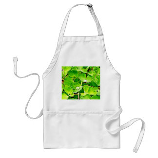 Bright Green Leaves with Raindrops Adult Apron