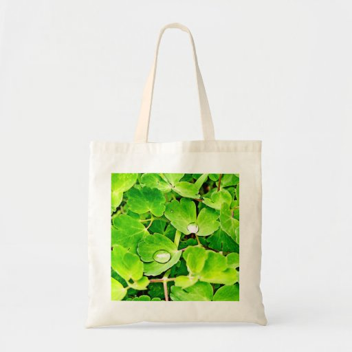 Bright Green Leaves with Raindrops Canvas Bag