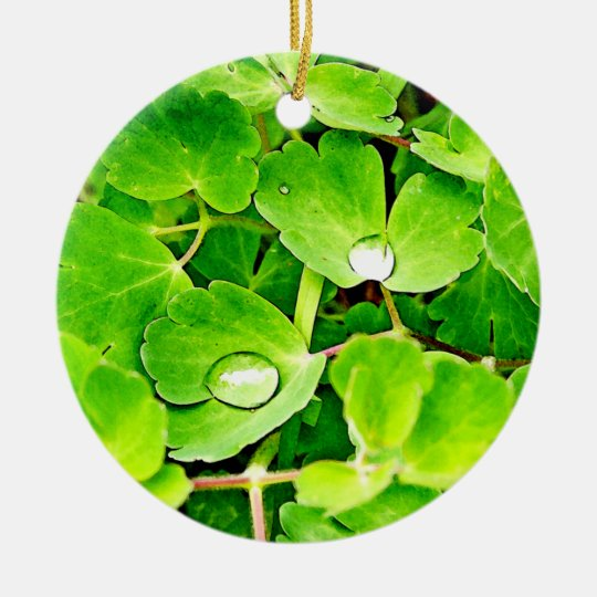 Bright Green Leaves with Raindrops Ceramic Ornament