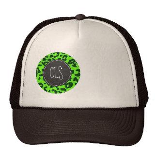 Bright Green Leopard Animal Print; Chalkboard Mesh Hats