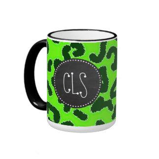 Bright Green Leopard Animal Print; Chalkboard Ringer Mug