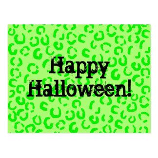 Bright Green Leopard Print Halloween Postcard