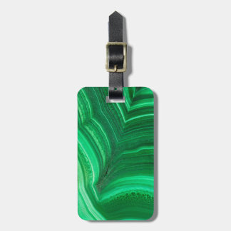 Bright green Malachite Mineral Bag Tag