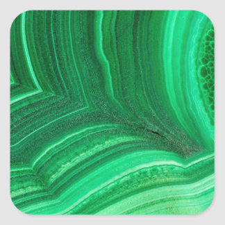 Bright green Malachite Mineral Square Sticker