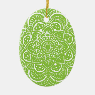 BRIGHT GREEN MANDALA CERAMIC OVAL DECORATION Double-Sided OVAL CERAMIC CHRISTMAS ORNAMENT