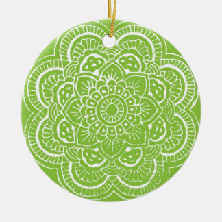BRIGHT GREEN MANDALA ROUND CERAMIC DECORATION Double-Sided CERAMIC ROUND CHRISTMAS ORNAMENT