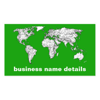 Bright green map business card templates